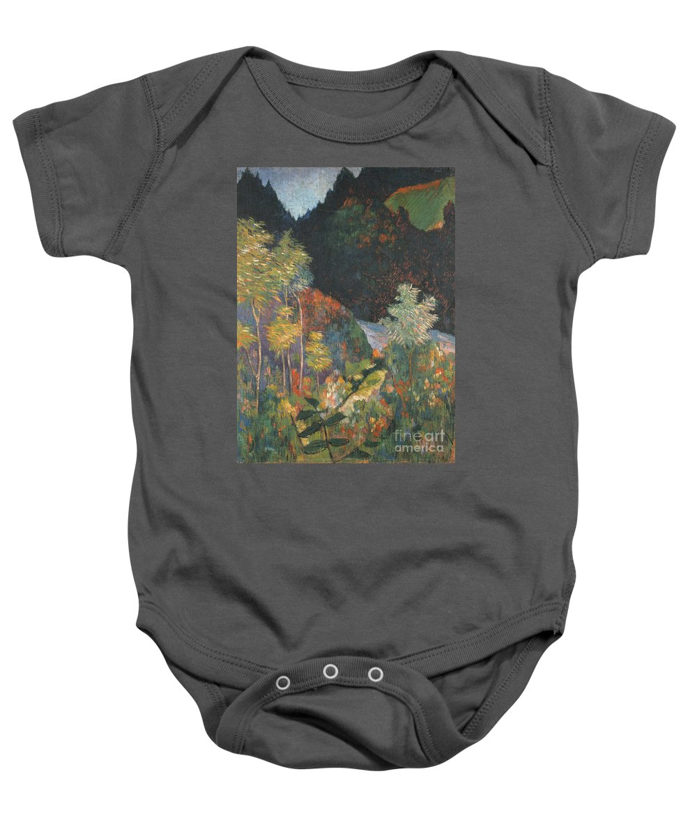 Landscape (oil On Canvas) By Paul Gauguin (1848-1903) Baby Onesie featuring the painting Landscape by Paul Gauguin