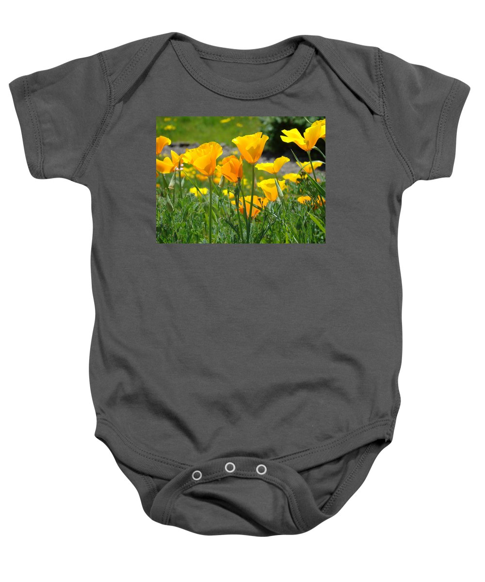 �poppies Artwork� Baby Onesie featuring the photograph Landscape Poppy Flowers 5 Orange Poppies Hillside Meadow Art by Baslee Troutman