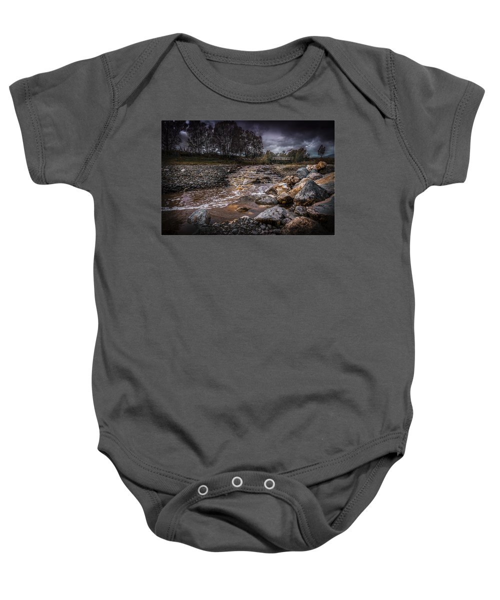 Autumn Baby Onesie featuring the photograph Landscape River And Bridge II by Peter Hayward Photographer