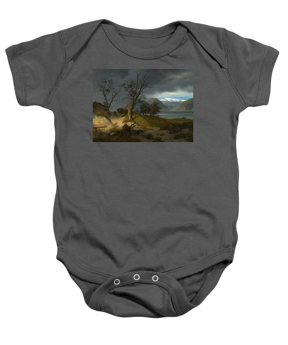 Thomas Fearnley 1802 - 1842 Norwegian Baby Onesie featuring the painting Landscape by Thomas Fearnley