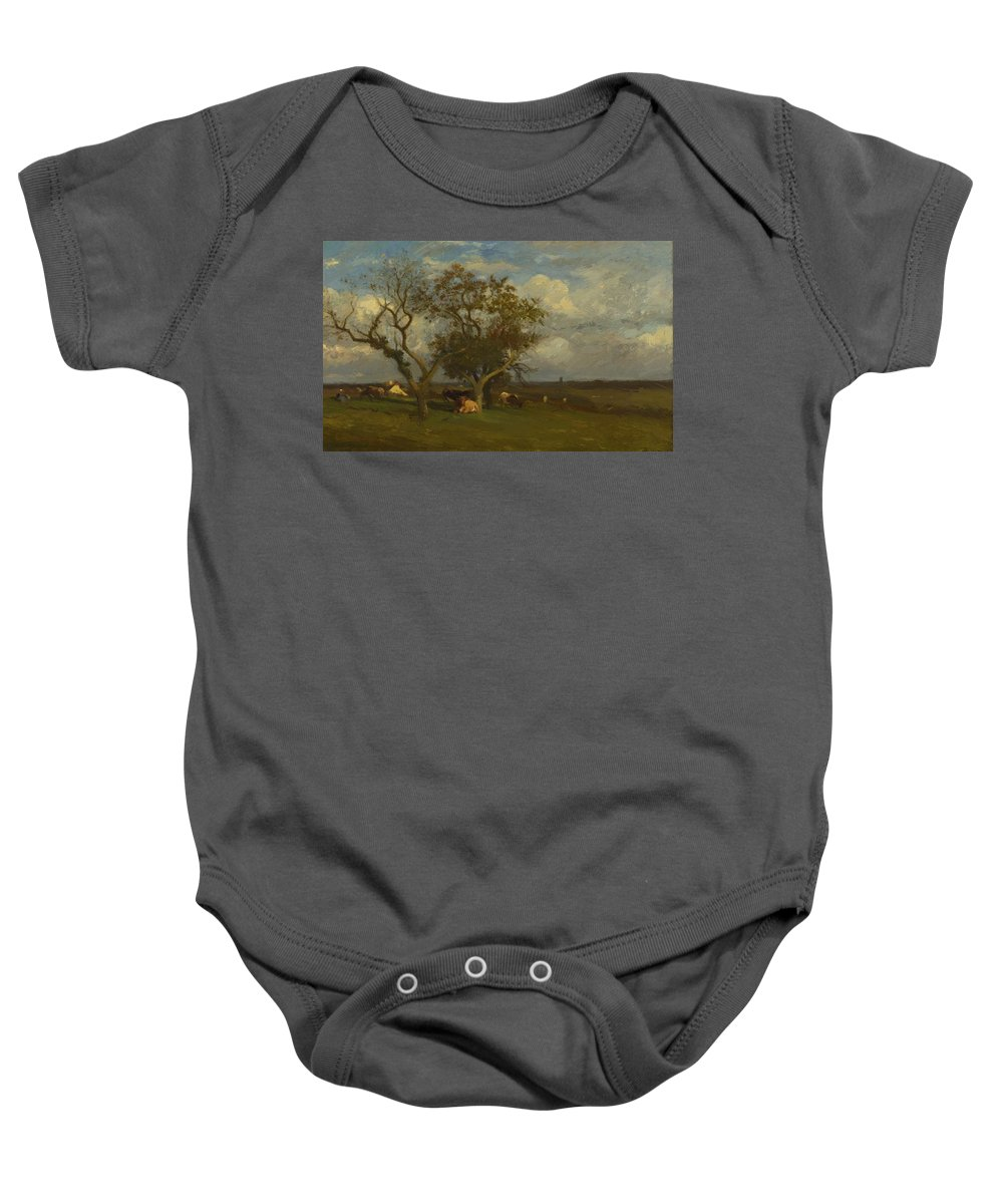 Landscape Baby Onesie featuring the painting Landscape With Cows by Dupre Jules