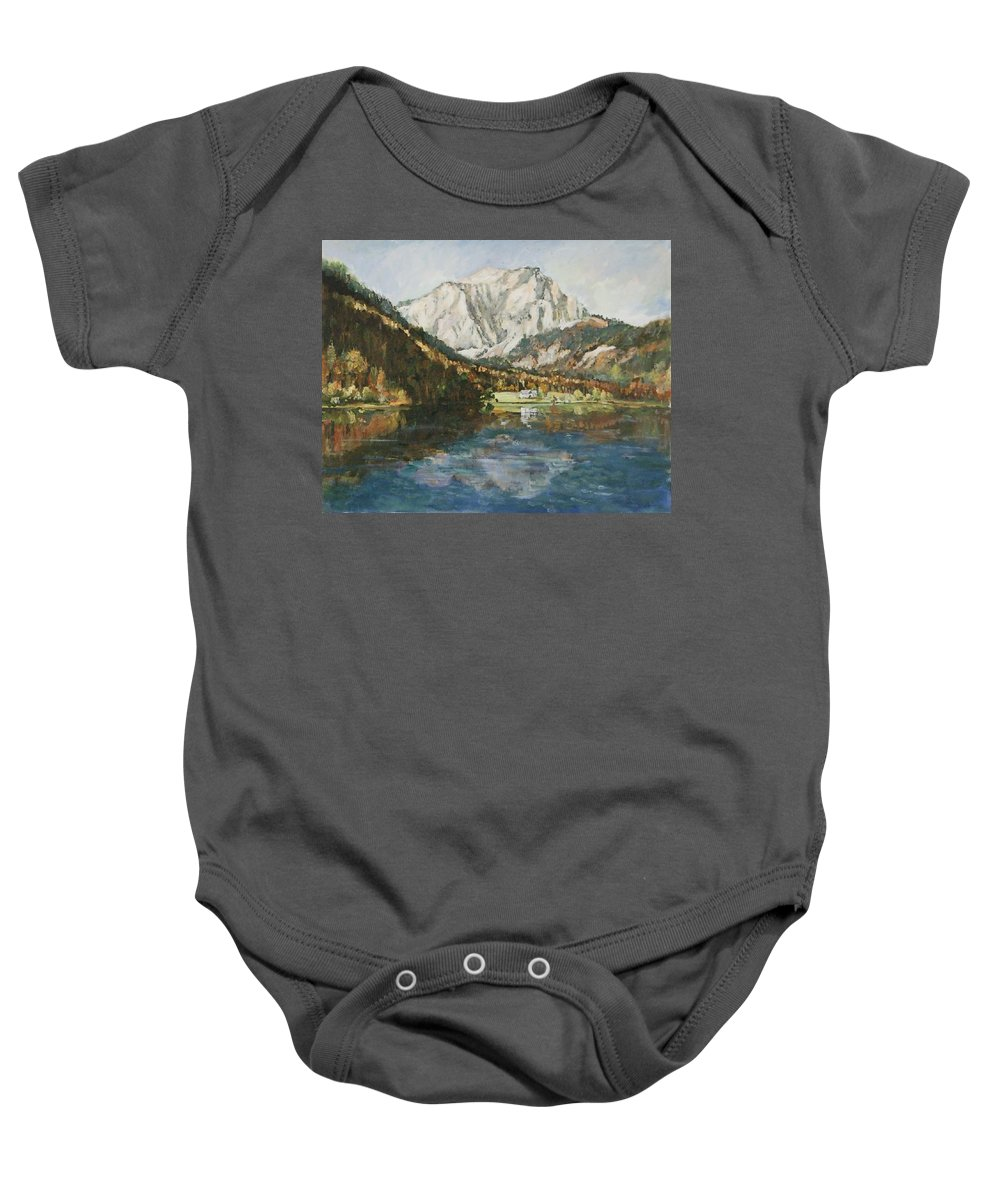 Landscape Baby Onesie featuring the painting Langbathsee Austria by Alexandra Maria Ethlyn Cheshire