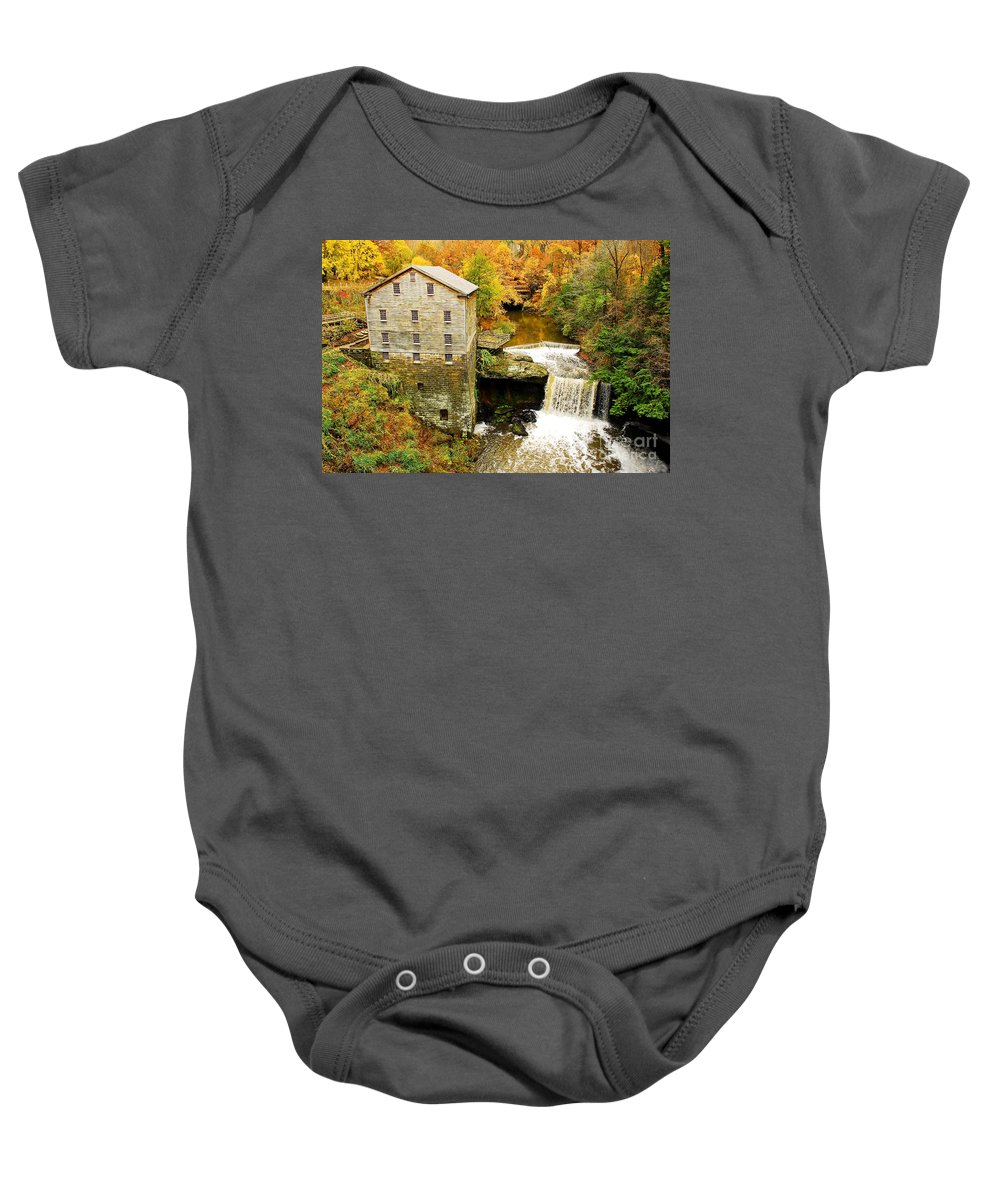 Lantermans Mill Baby Onesie featuring the photograph Lantermans Mill In Fall by Tony Bazidlo