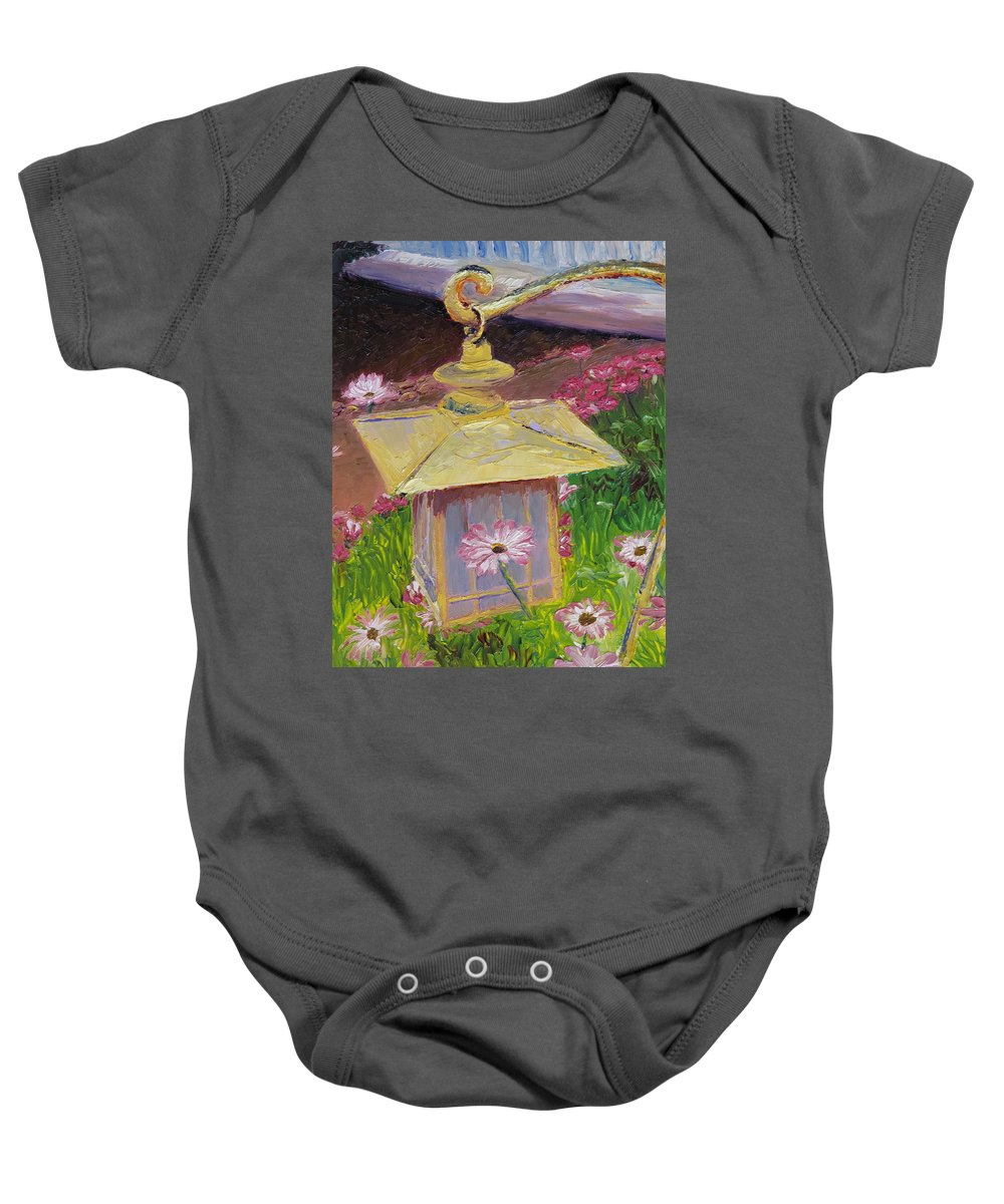 Flower Baby Onesie featuring the painting Lantern And Friends by Lea Novak