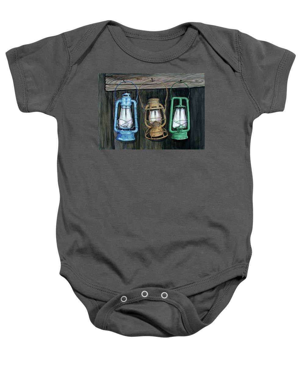 Lanterns Baby Onesie featuring the painting Lanterns by Ferrel Cordle