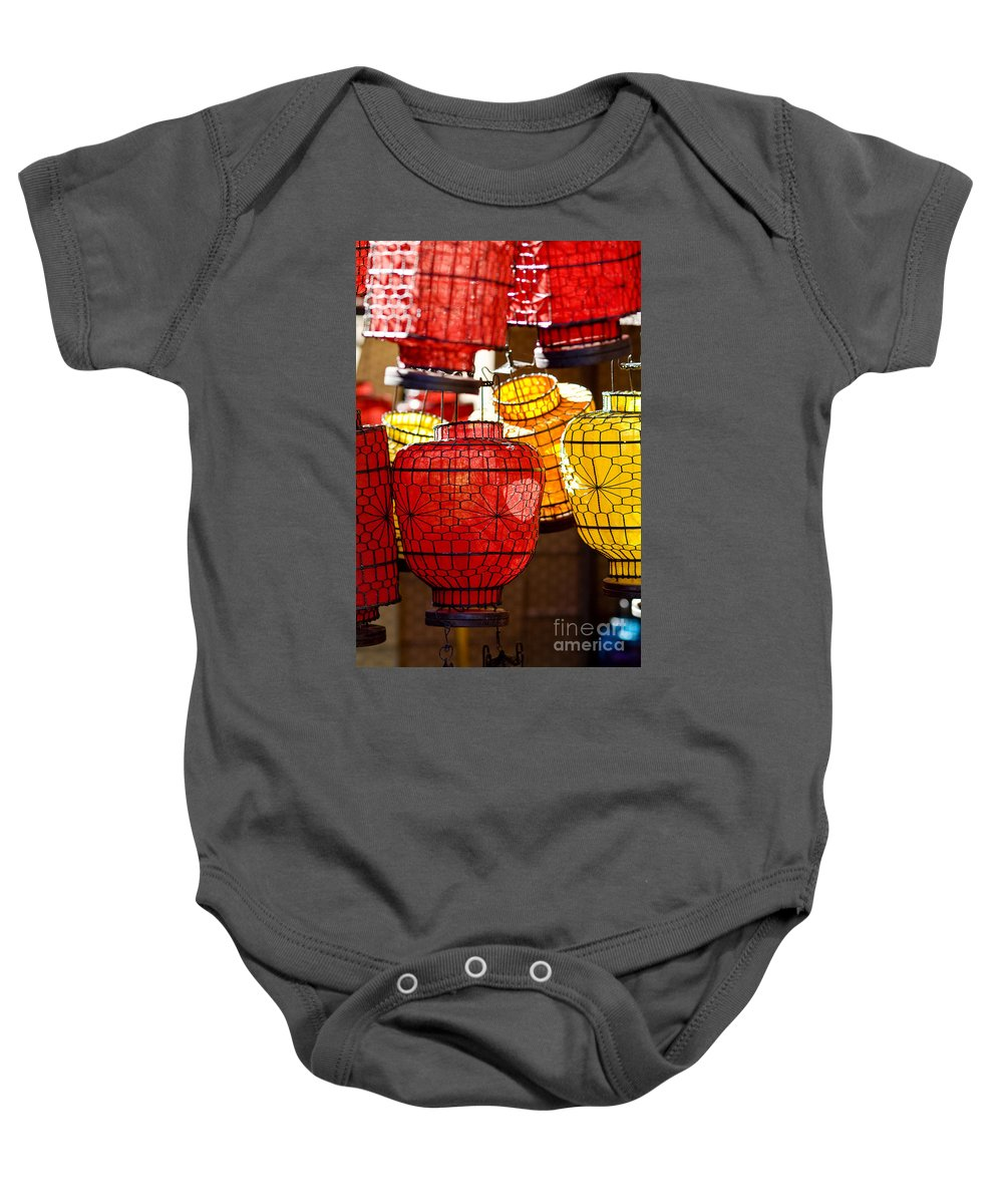 Ancient Baby Onesie featuring the photograph Lanterns In Market Place by Ray Laskowitz - Printscapes
