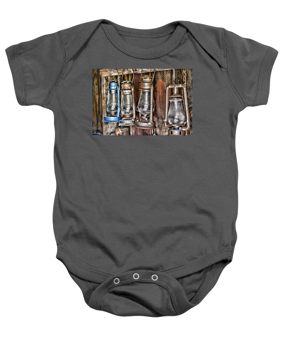 Antique Lanterns Baby Onesie featuring the photograph Lanterns by Kelley King