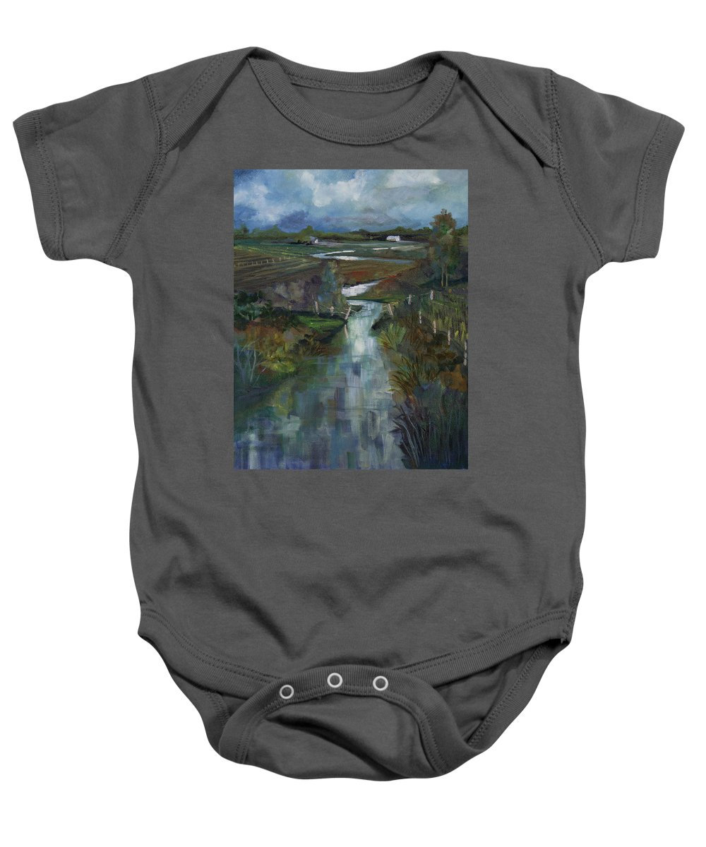 River Baby Onesie featuring the painting Laramie River Valley by Heather Coen