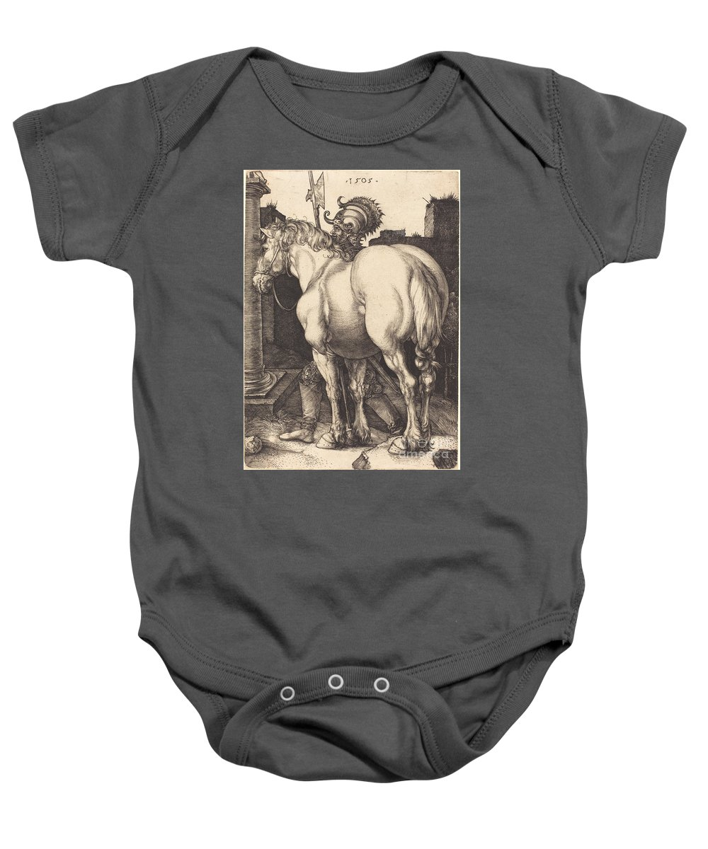 Baby Onesie featuring the drawing Large Horse by Albrecht D?rer
