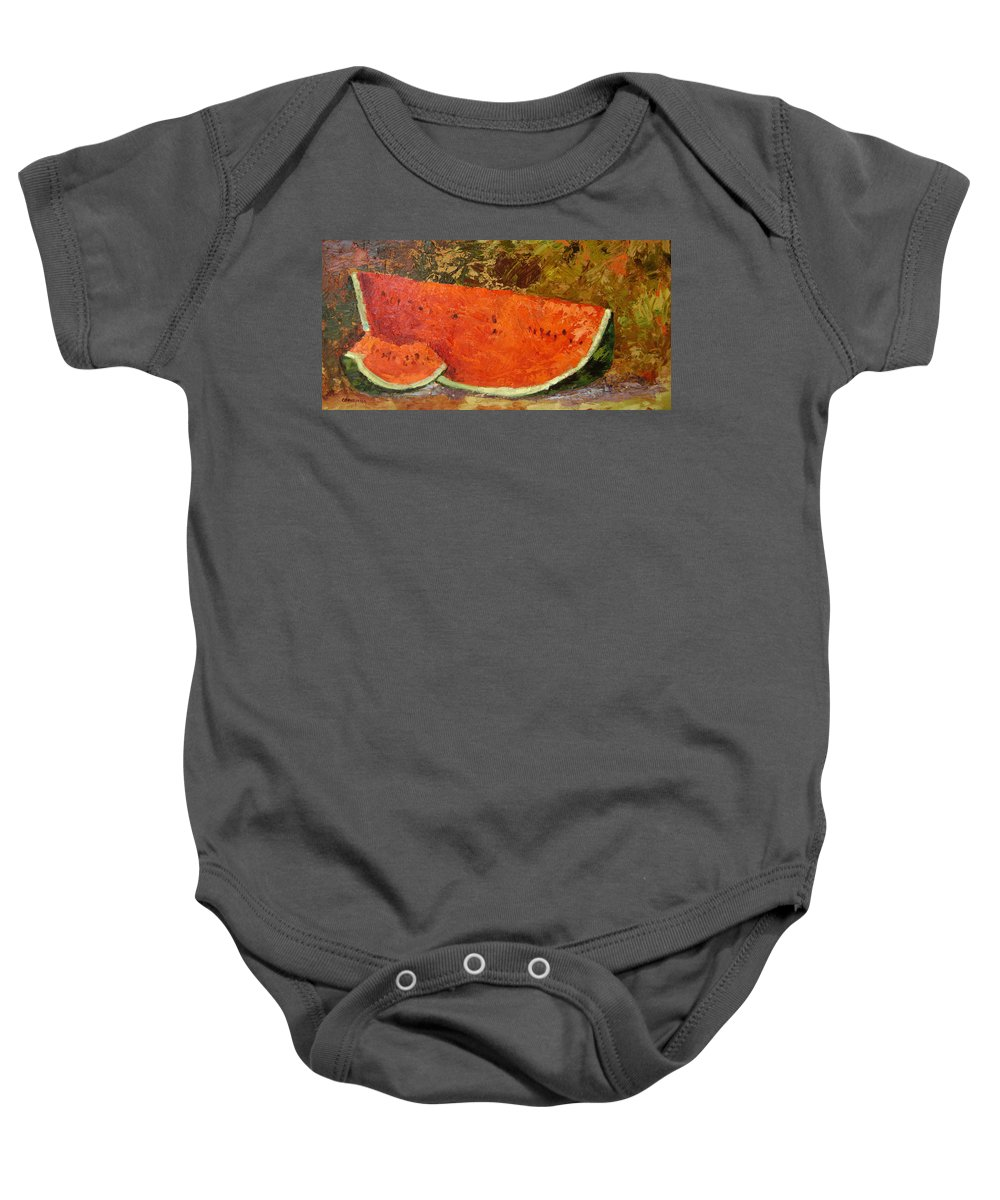 Watermelon Baby Onesie featuring the painting Last Of Summer by Ginger Concepcion