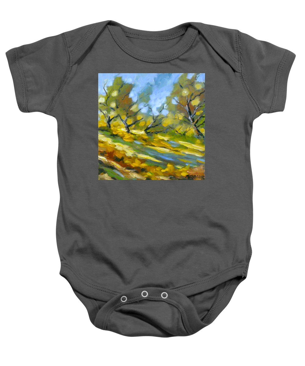 Original Painting; Oil; Landscape; Birches; Trees; Nature; Richard T Pranke; Lake Baby Onesie featuring the painting Late Afternoon by Richard T Pranke