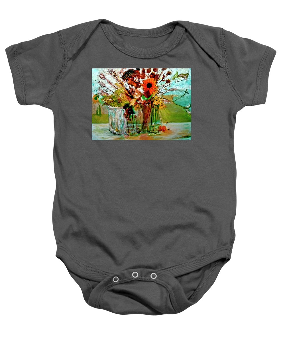 Flowers Jar Glass Thistle Picnic Green Lemon Rose Baby Onesie featuring the painting Late Summer by Jack Diamond