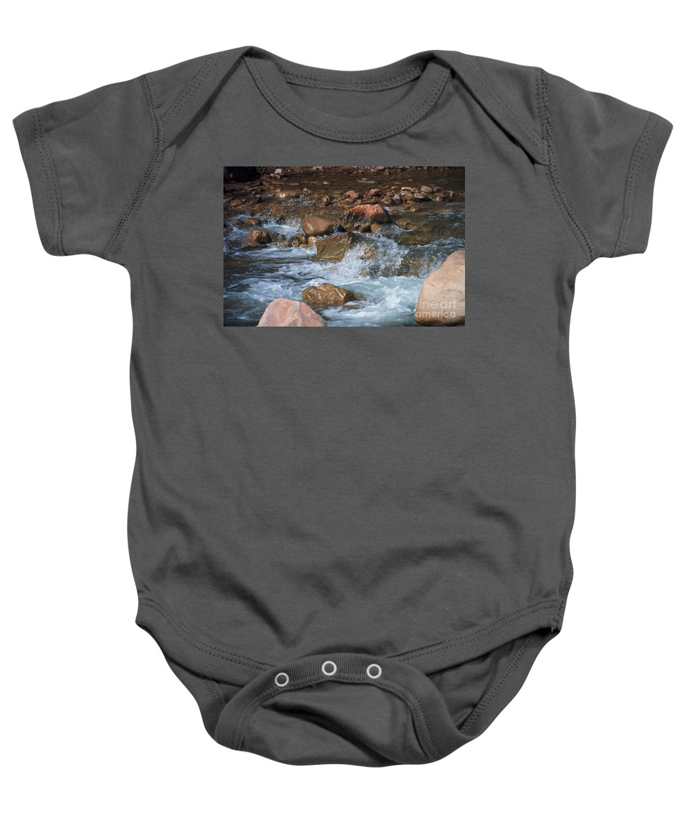 Creek Baby Onesie featuring the photograph Laughing Water by Kathy McClure