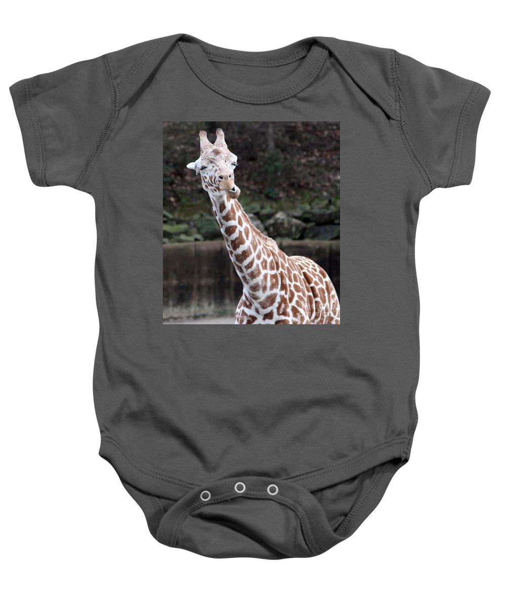 Laughing Giraffe Baby Onesie featuring the photograph Laughter by Amanda Barcon