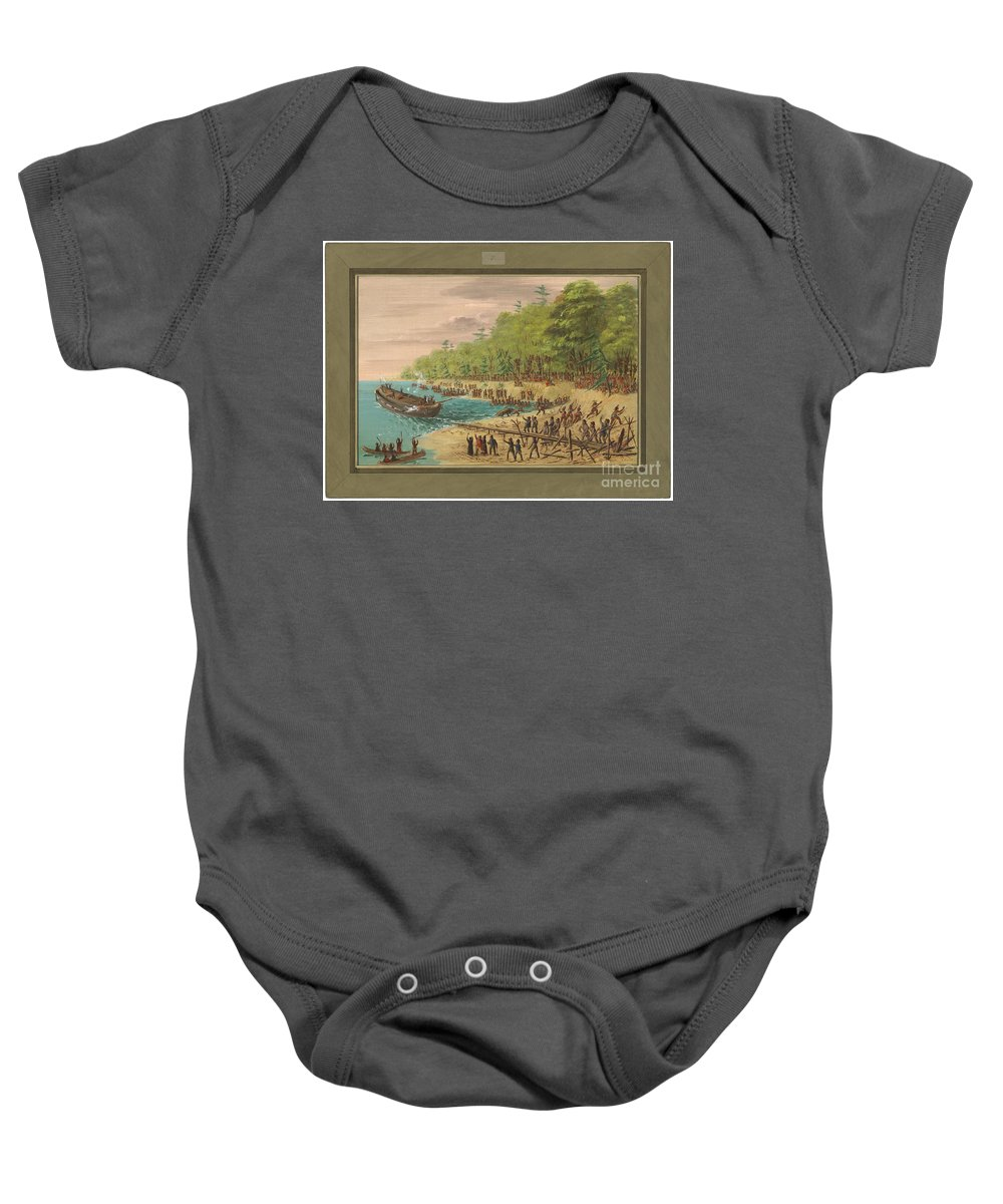 Baby Onesie featuring the painting Launching Of The Griffin. July 1679 by George Catlin