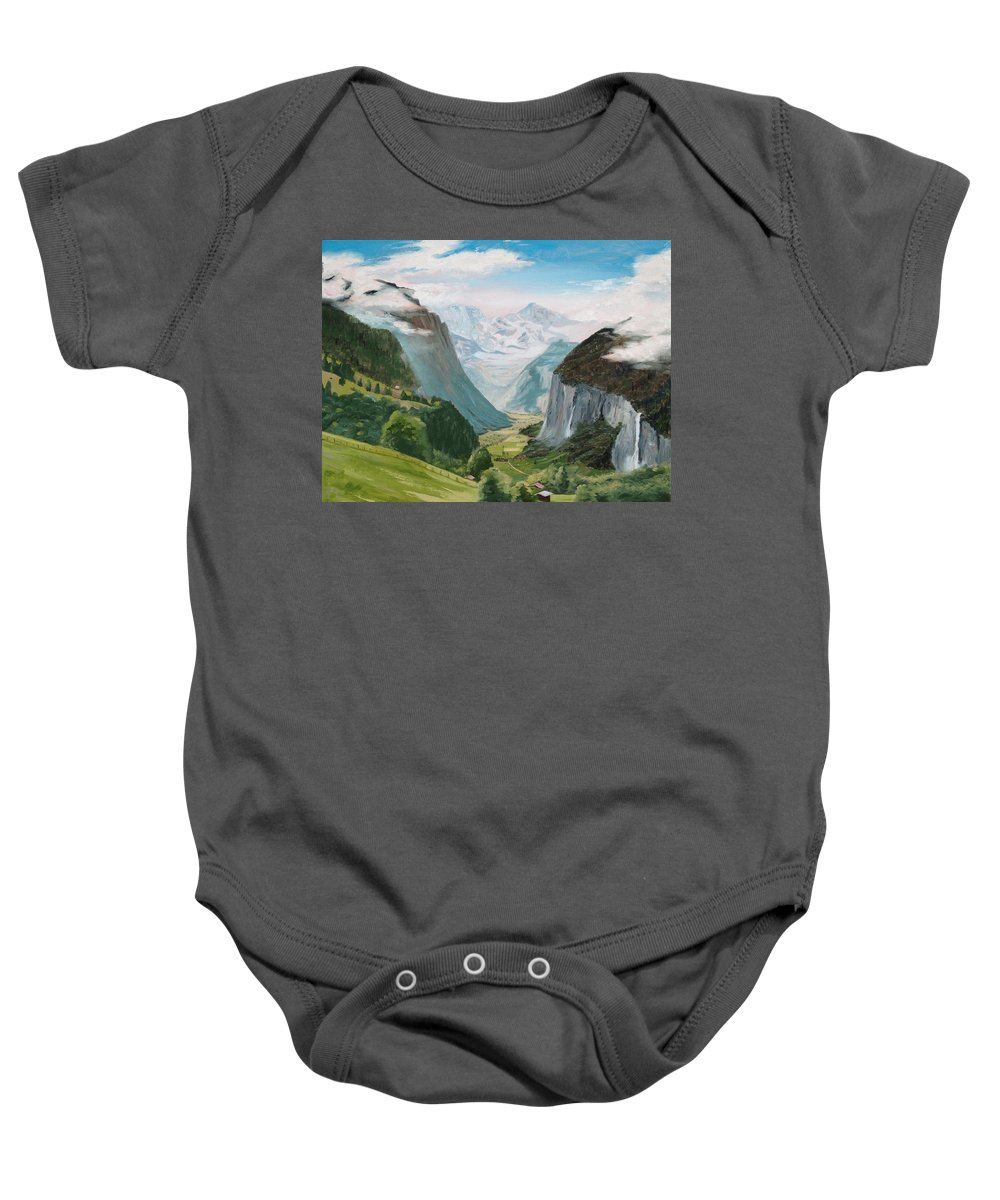 Switzerland Baby Onesie featuring the painting Lauterbrunnen Valley Switzerland by Jay Johnson