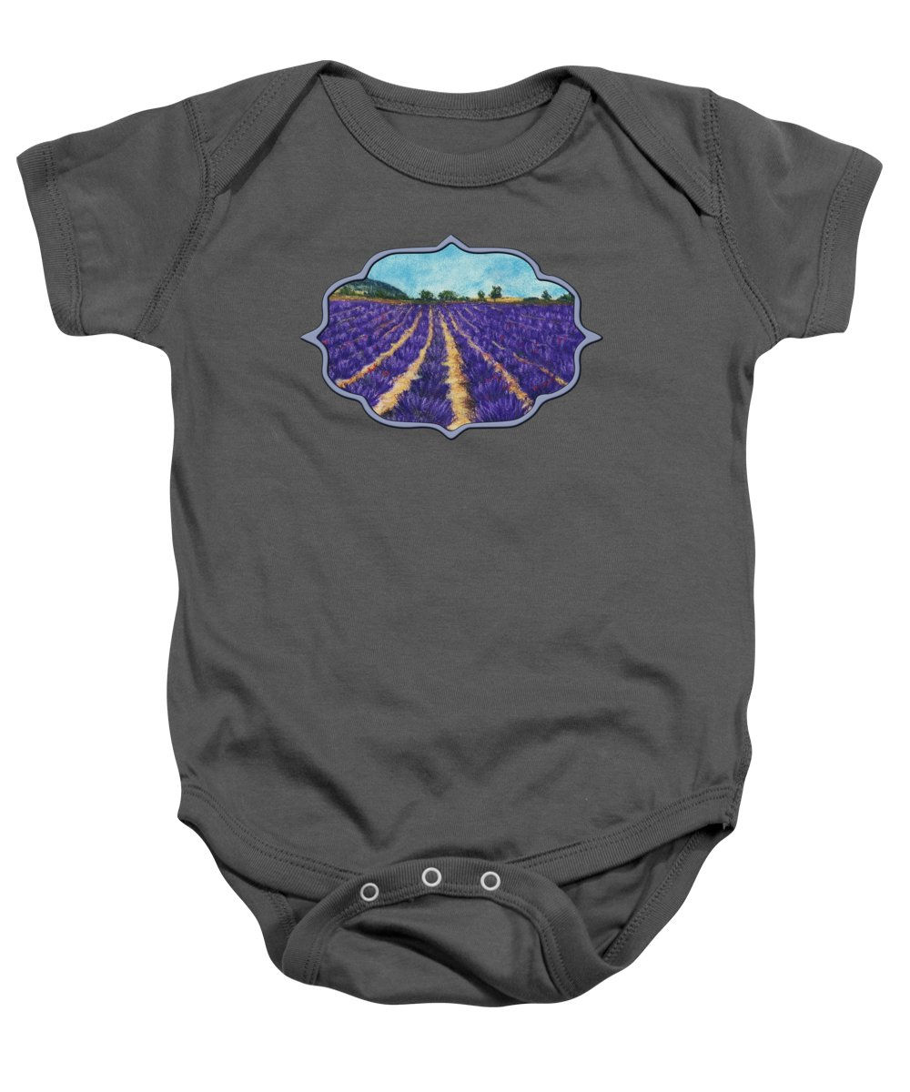 Hills Baby Onesie featuring the painting Lavender Afternoon by Anastasiya Malakhova