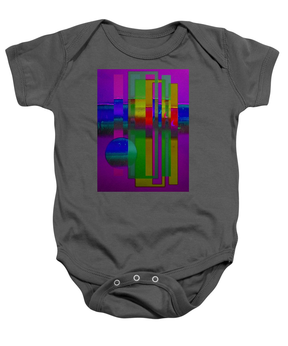 Landscape Baby Onesie featuring the painting lavender Doors by Charles Stuart