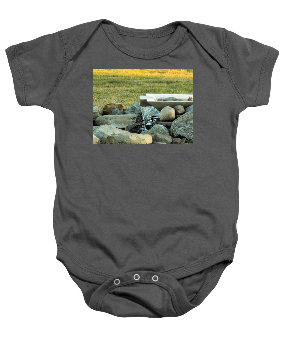 Water Feature Baby Onesie featuring the photograph Lawn Water Feature by William Tasker