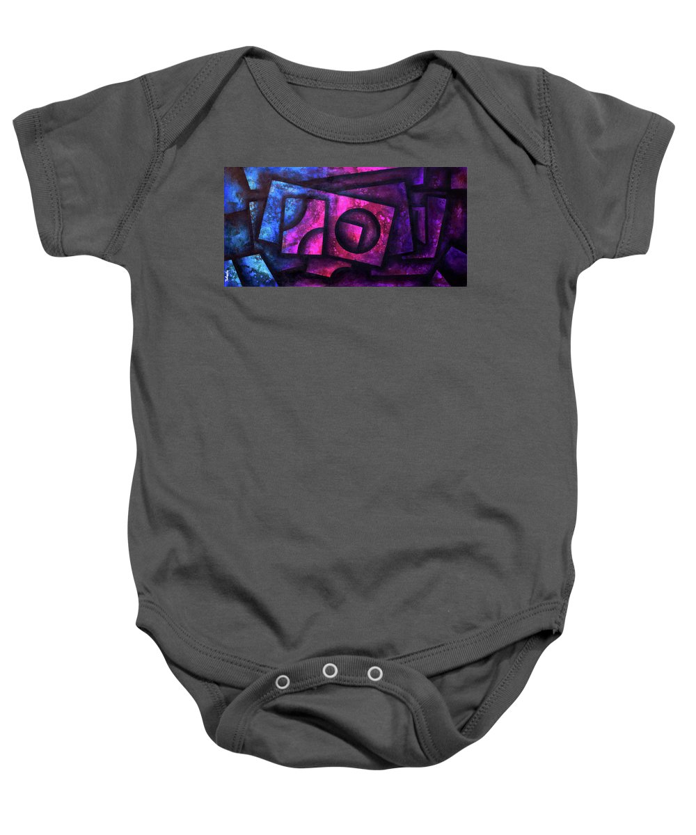 Abstract Modern Contemporary Art Deco Baby Onesie featuring the painting Layers Of Pandora by Gustav Rodmartin