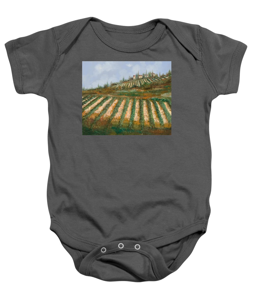 Vineyard Baby Onesie featuring the painting Le Case Nella Vigna by Guido Borelli