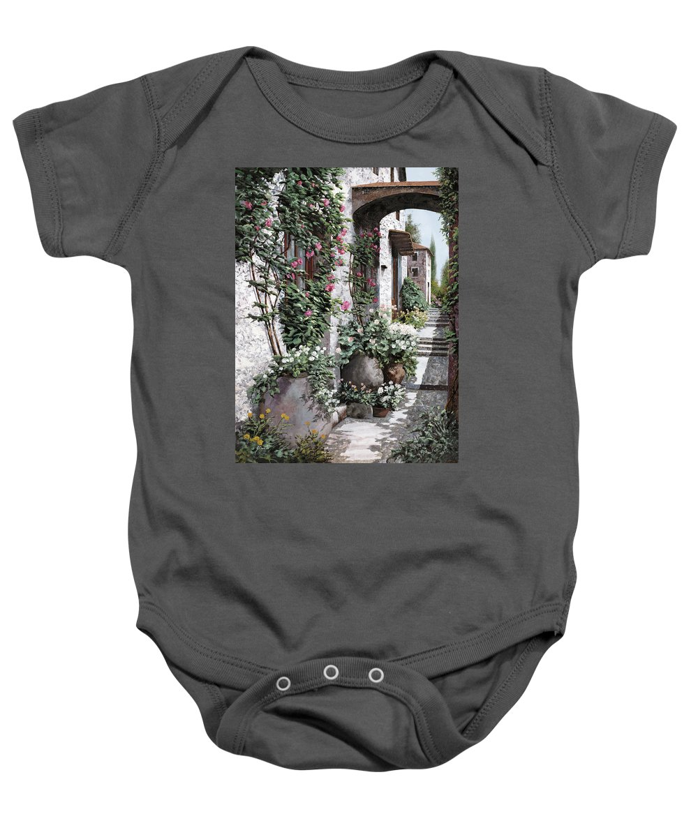 Arch Baby Onesie featuring the painting Le Rose Rampicanti by Guido Borelli