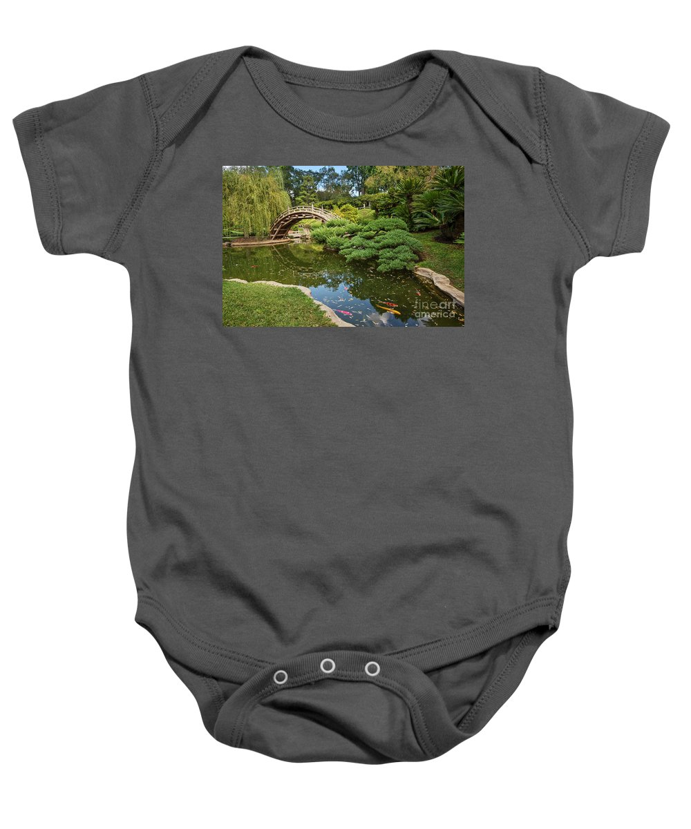 Japanese Garden Baby Onesie featuring the photograph Lead The Way - The Beautiful Japanese Gardens At The Huntington Library With Koi Swimming. by Jamie Pham