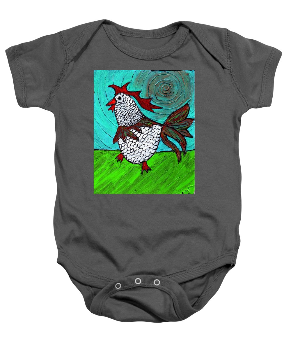 Rooster Baby Onesie featuring the painting Leader Of The Pack by Wayne Potrafka