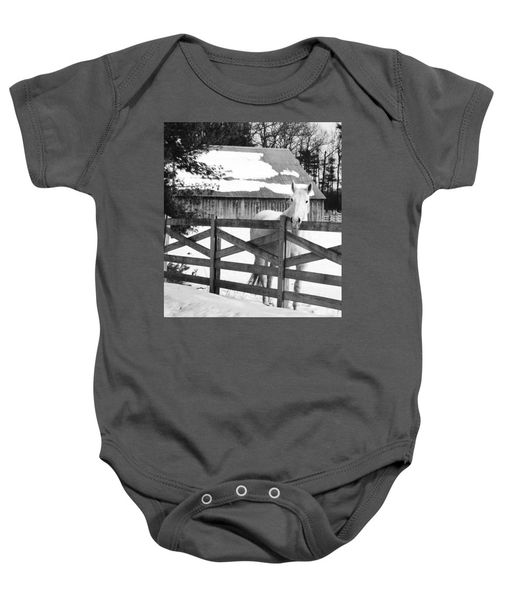 Horse Baby Onesie featuring the photograph Leaning on The Fence by Eric Liller