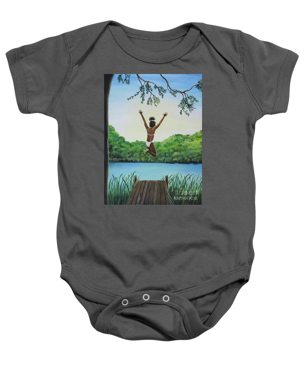 Summer Vacation Baby Onesie featuring the painting Leap Of Faith by Kris Crollard