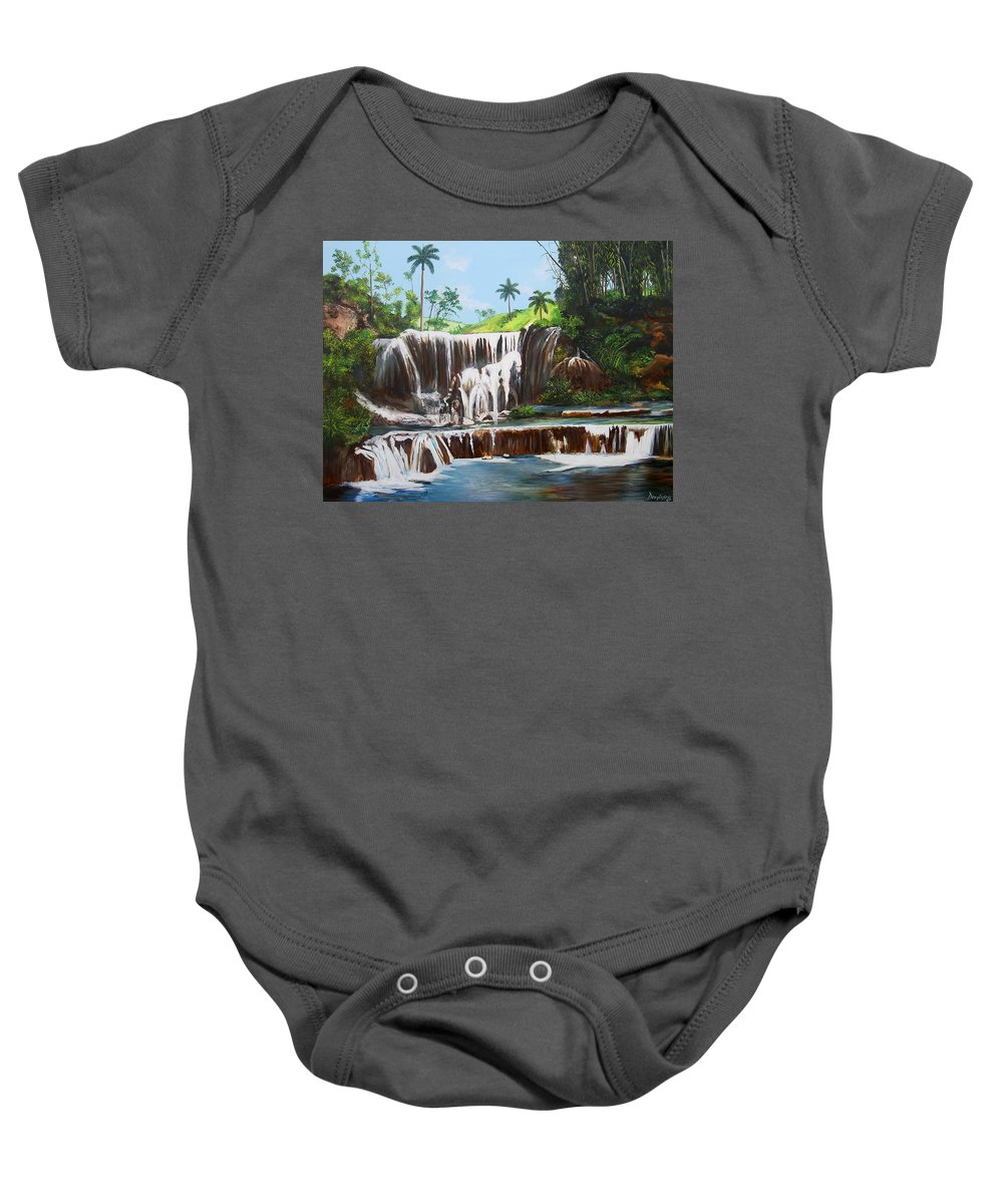 Cuban Waterfall Baby Onesie featuring the painting Leaping Waterfall by Dominica Alcantara