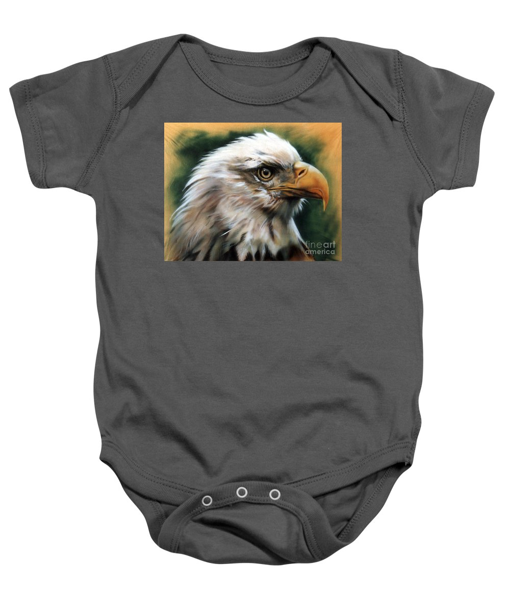 Southwest Art Baby Onesie featuring the painting Leather Eagle by J W Baker