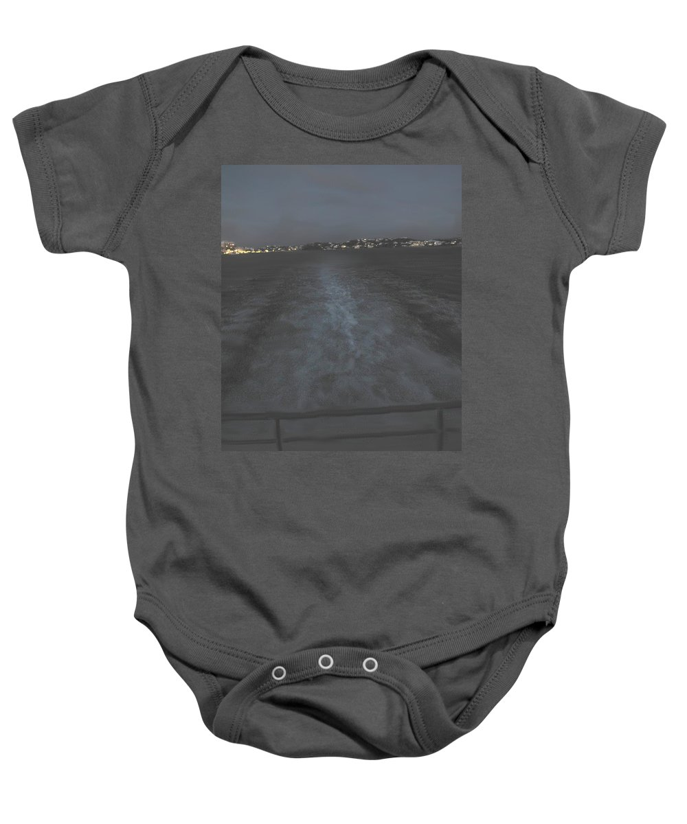Bermuda Baby Onesie featuring the photograph Leaving Port At Twilight by Ian MacDonald