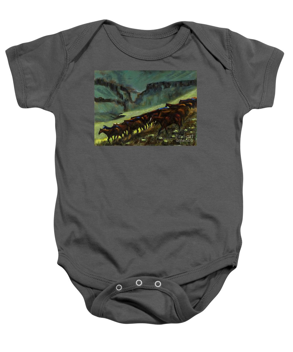 Horses Baby Onesie featuring the painting Leaving The Mesa by Frances Marino