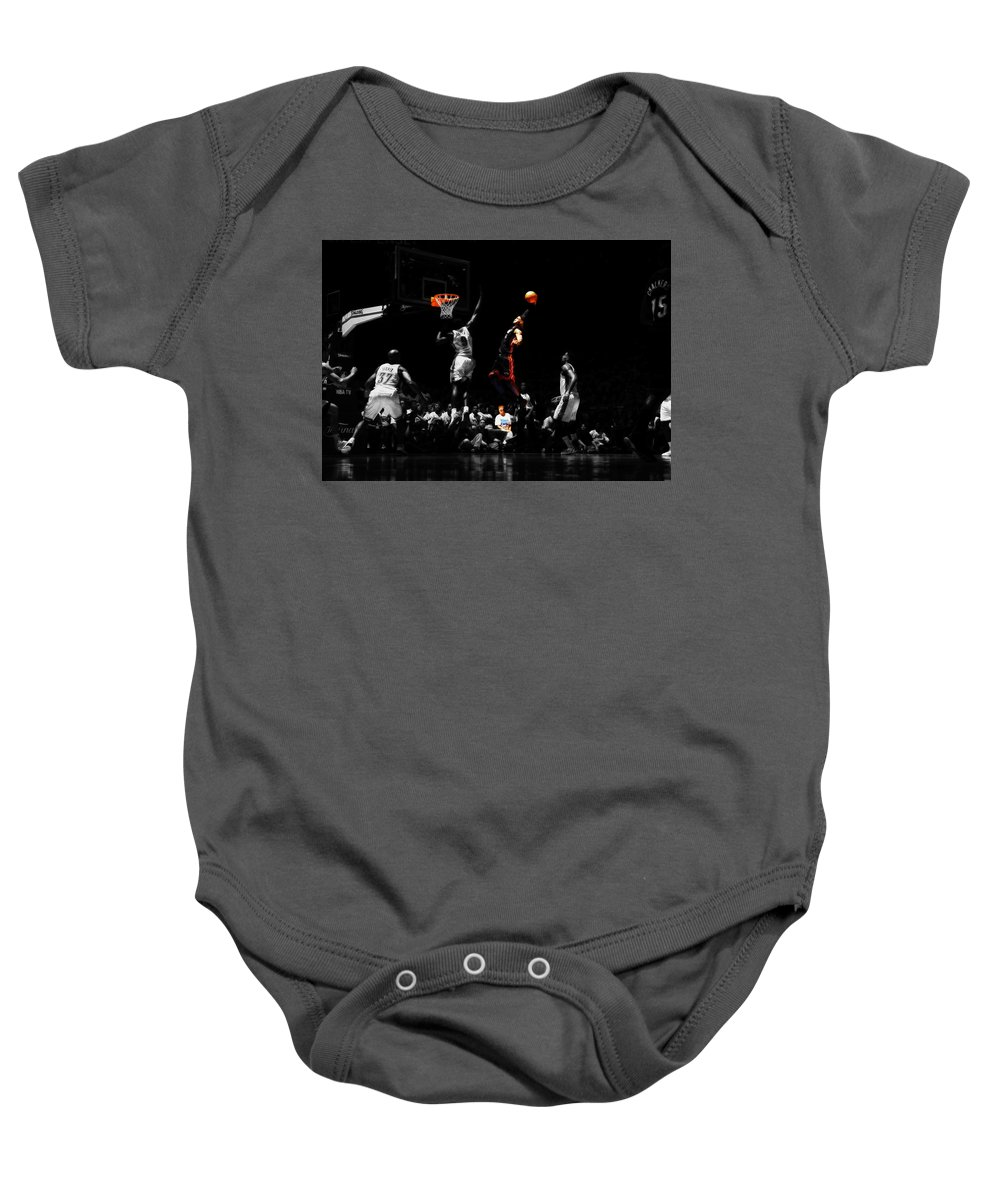 680271241e17 Lebron James Baby Onesie featuring the mixed media Lebron James Witness by Brian  Reaves