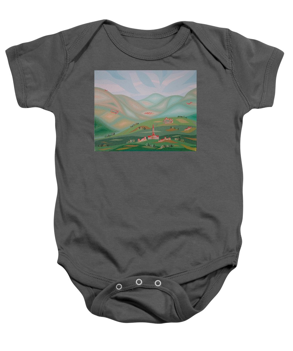 Oil Baby Onesie featuring the painting Legendary Land by Peter Antos