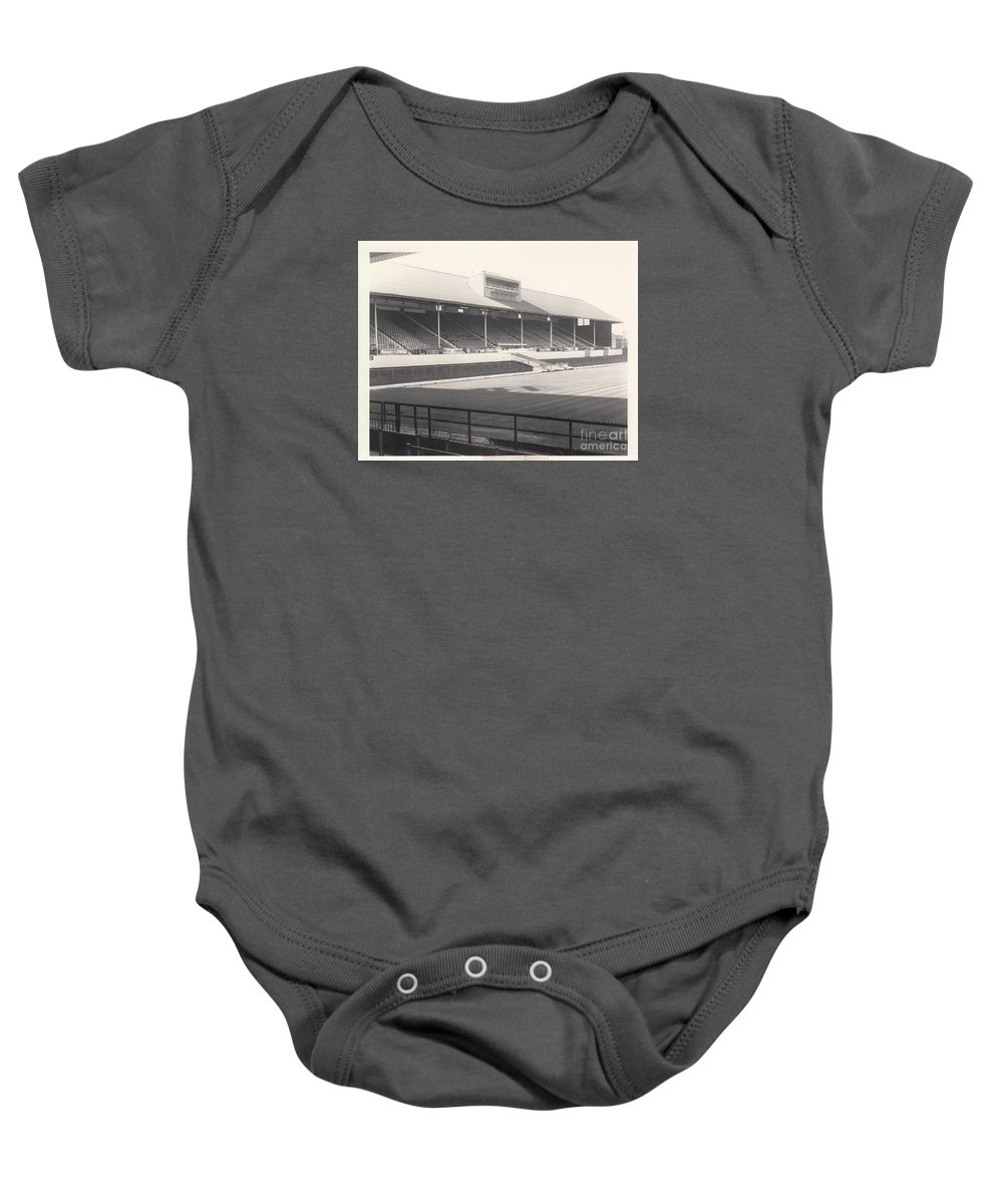 Baby Onesie featuring the photograph Leicester City - Filbert Street - Main Stand 1 - Bw - 1960s by Legendary Football Grounds