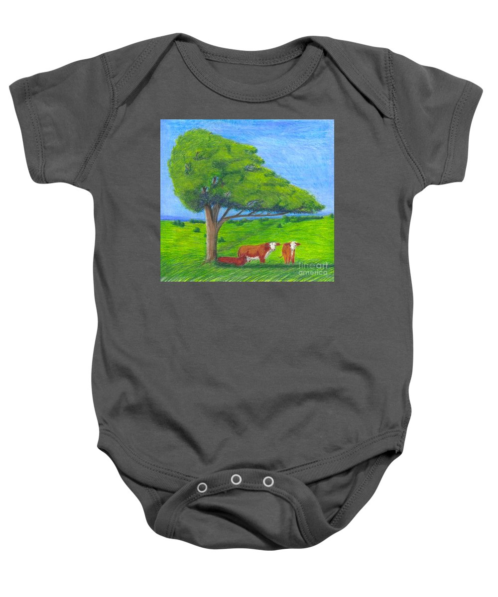 Cattle Baby Onesie featuring the pastel Leisure Time by Mendy Pedersen
