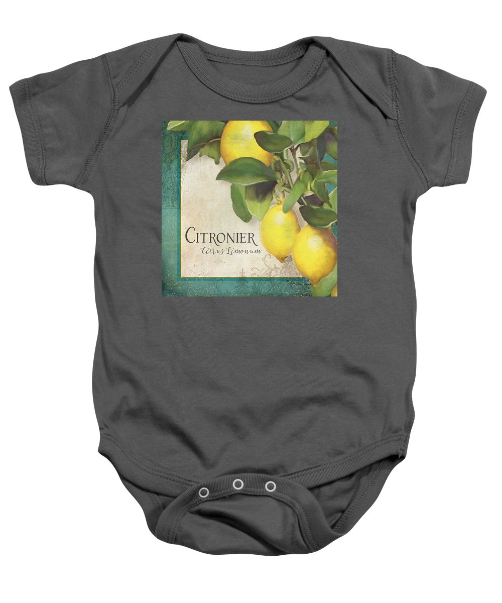 Lemons Baby Onesie featuring the painting Lemon Tree - Citronier Citrus Limonum by Audrey Jeanne Roberts