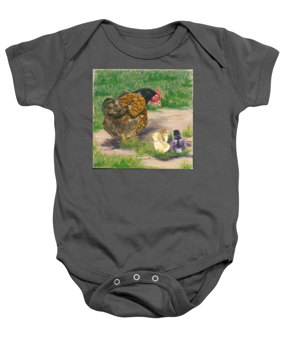 Cickens Chicks Hen Barnyard Bantams Farm Bucolic Nature Baby Onesie featuring the painting Lesson Time by Paula Emery