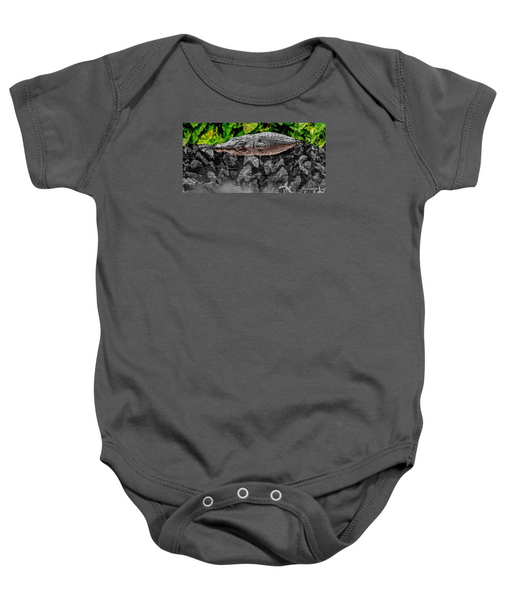 American Baby Onesie featuring the photograph Let Sleeping Gators Lie - Mod by Christopher Holmes
