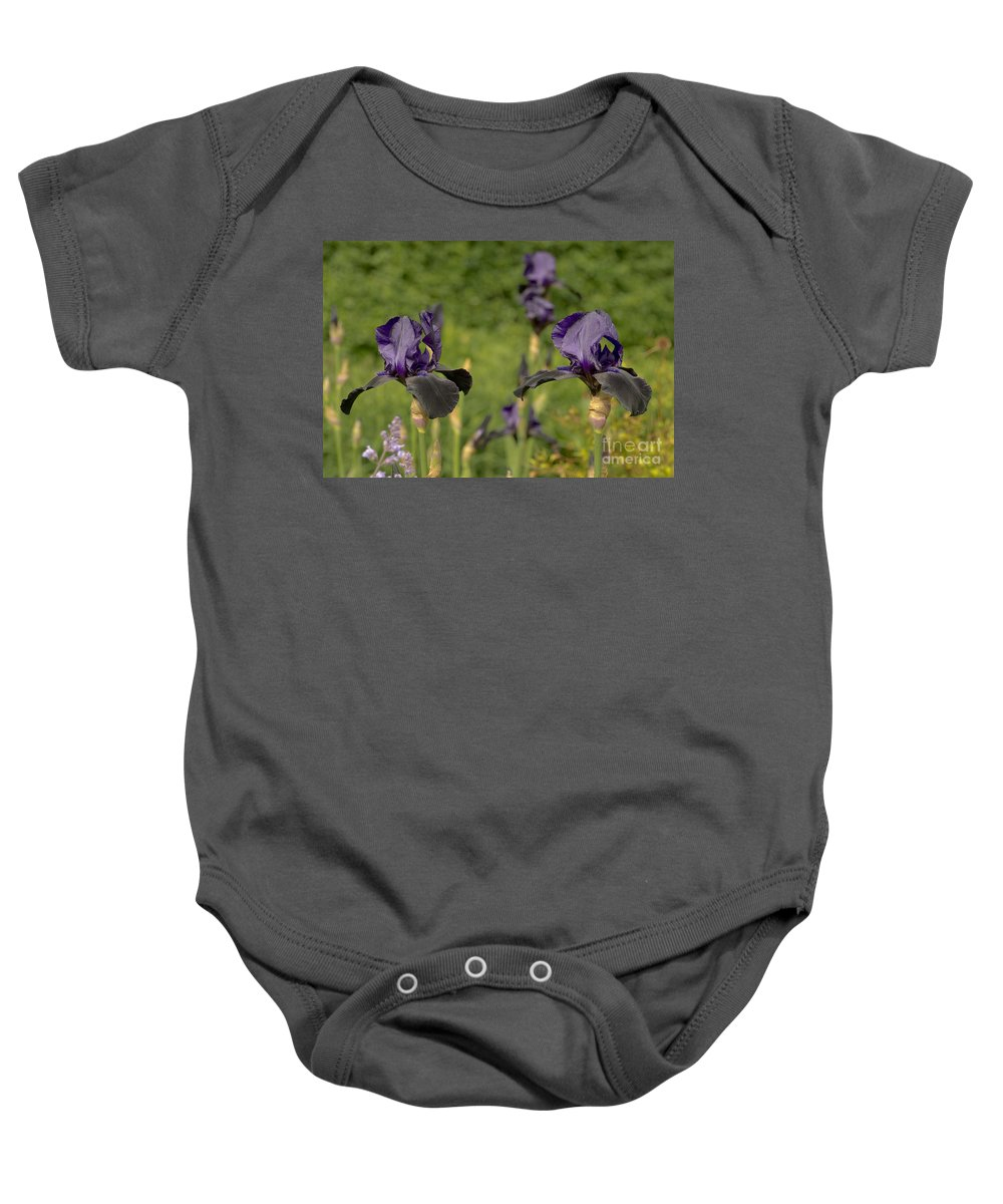 Iris Baby Onesie featuring the photograph Let's Dance. Black. by Elena Perelman