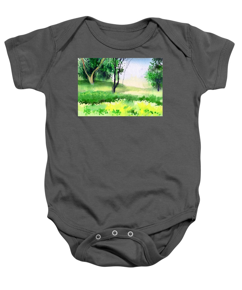 Watercolor Baby Onesie featuring the painting Let's go for a walk by Anil Nene