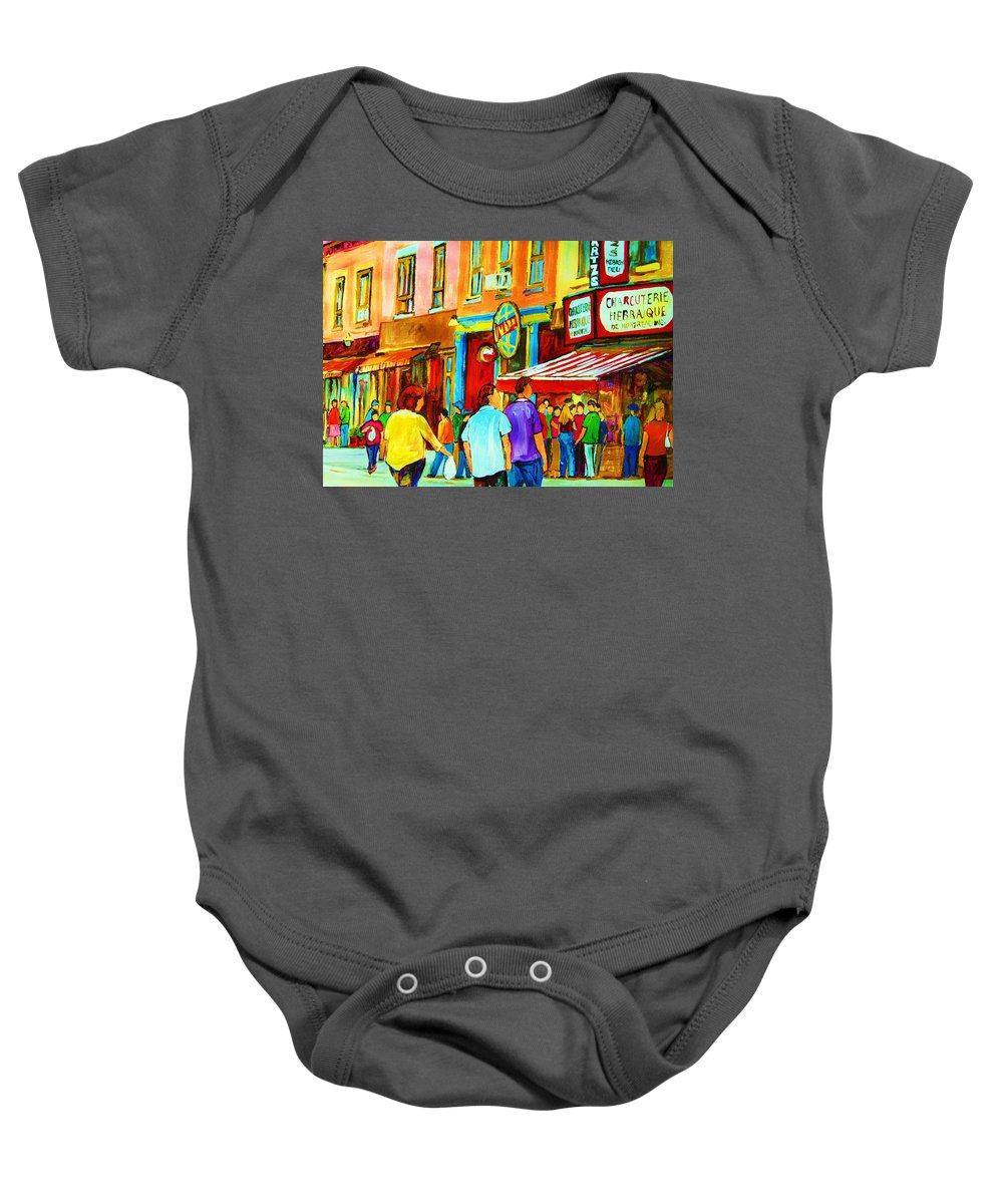 Cityscape Baby Onesie featuring the painting Lets Meet For Lunch by Carole Spandau