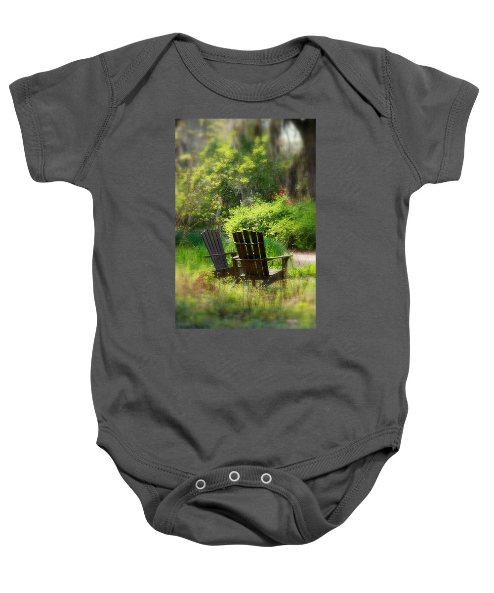 Benches Baby Onesie featuring the photograph Let's Talk Together by Susanne Van Hulst