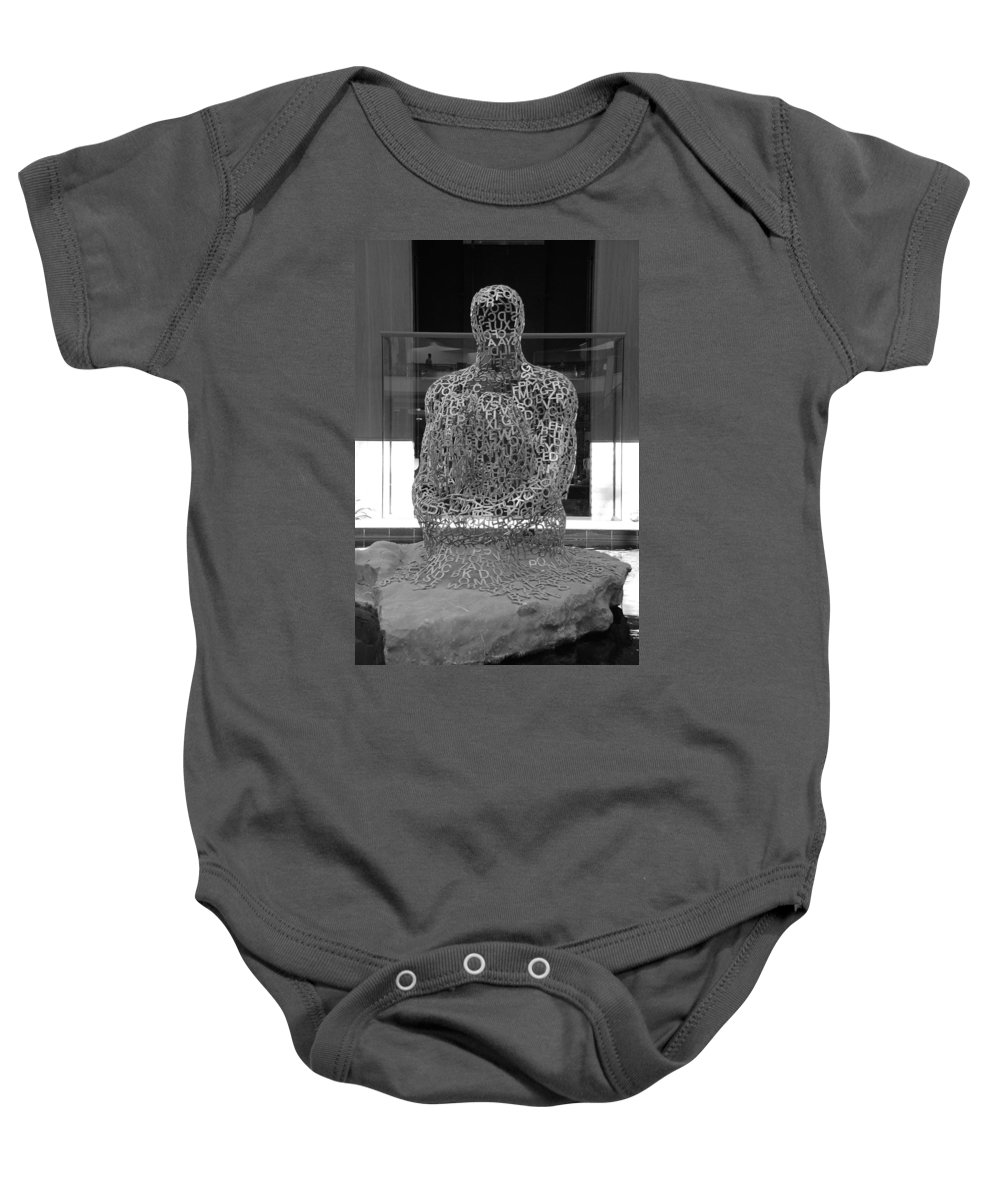 Black And White Baby Onesie featuring the photograph Letter Man by Rob Hans