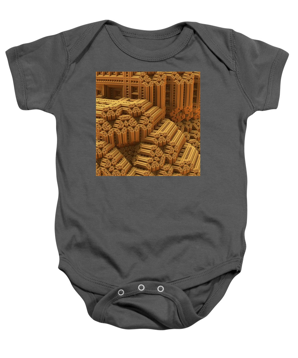 Mandelbulb Baby Onesie featuring the digital art Level And Plumb by Lyle Hatch