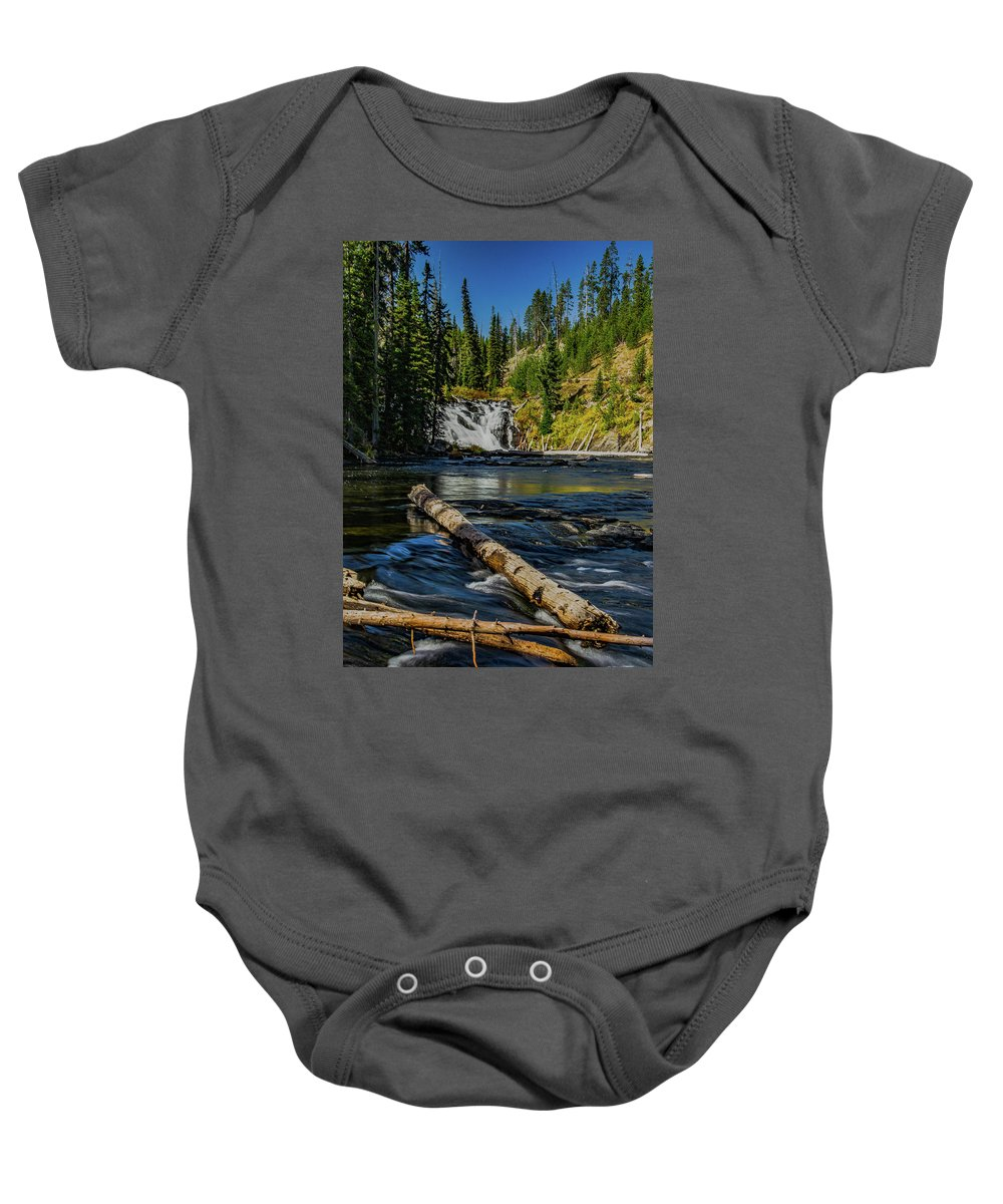 Yellowstone Baby Onesie featuring the photograph Lewis Falls by Lowlight Images
