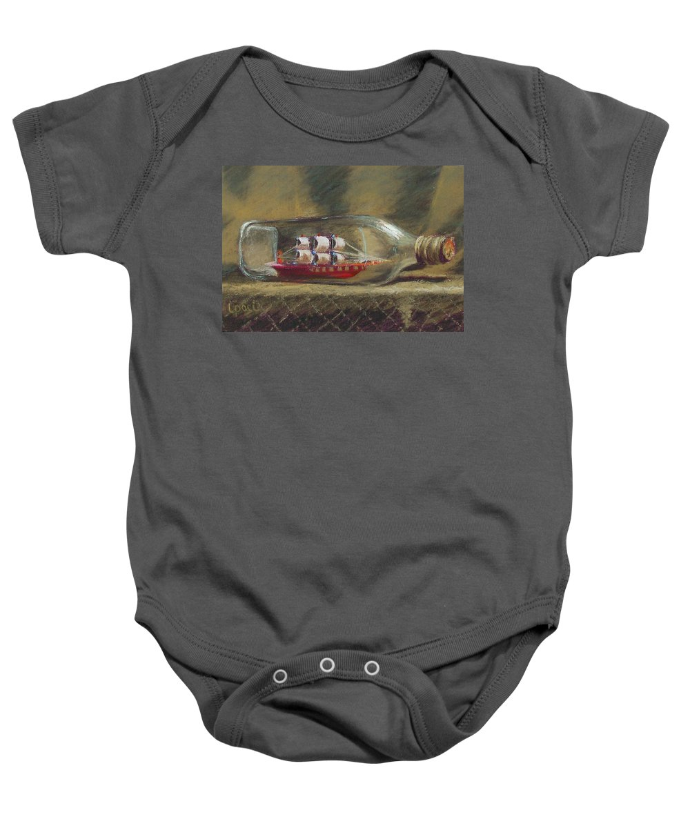 Ship In A Bottle Baby Onesie featuring the painting Life In A Bottle by Laurie Paci