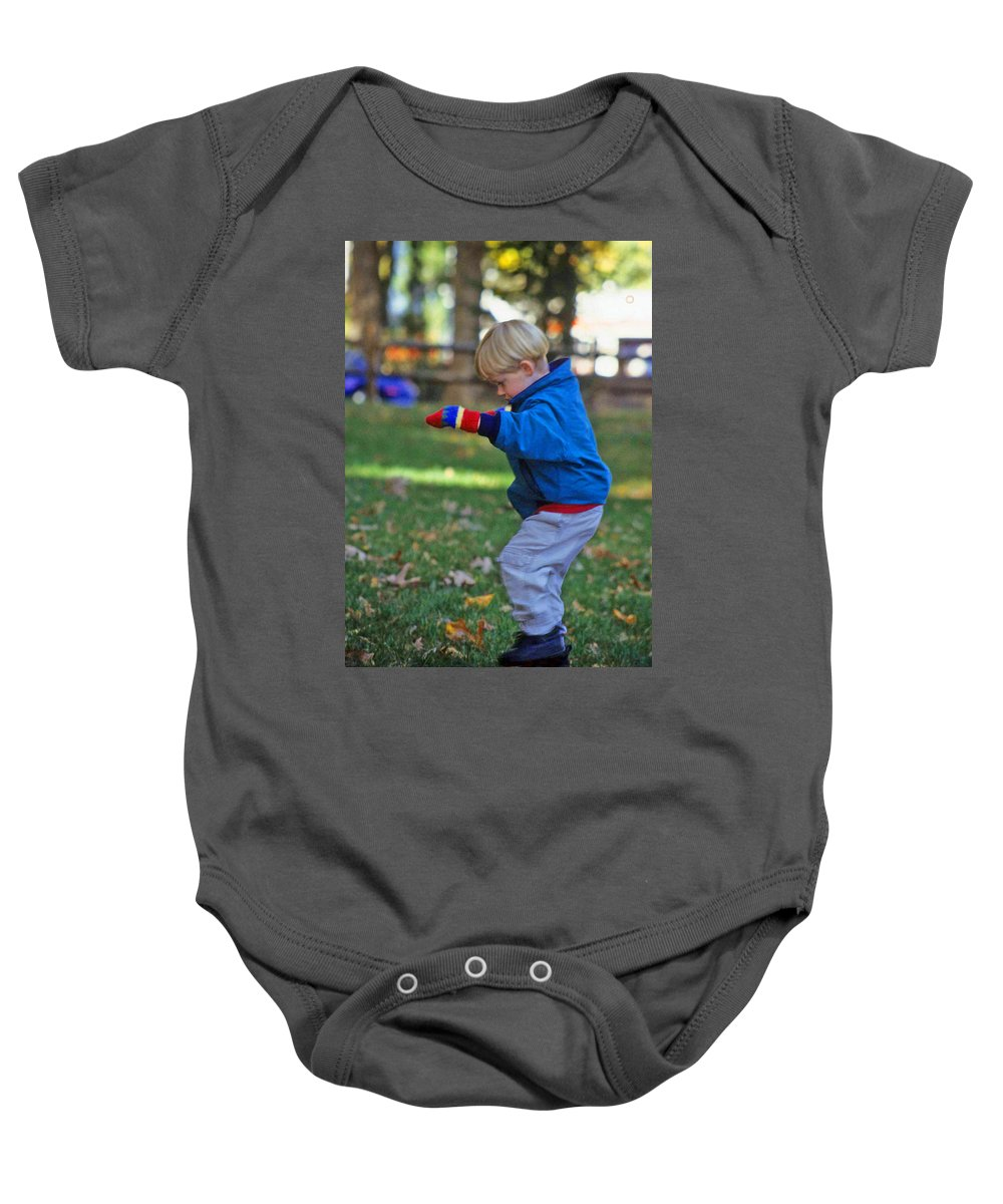 Boy Balancing Baby Onesie featuring the photograph Life In Perfect Balance by Laurie Paci